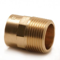 Straight male connector, copper x BSP taper male thread