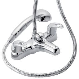 image for Izzi Dual Control Deck Mounted Bath Shower Mixer With Shower Kit