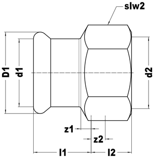 Straight female connector, press-fit x BSP parallel female thread dimensions