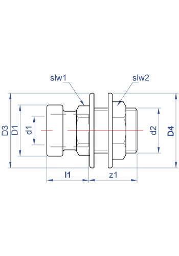 Tank connector push-fit x BSP parallel male thread with backnut dimensions