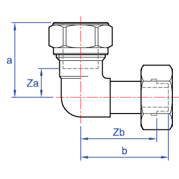 Bent swivel tap connector, copper x union nut. Spigot and fibre washer jointdimensions