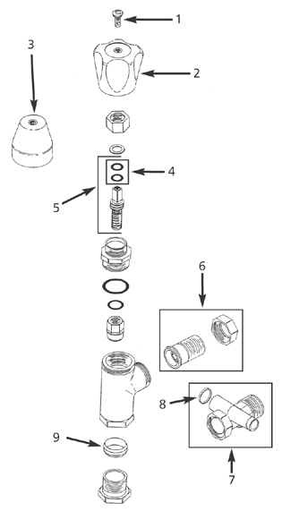 lockshield radiator valve angle pattern for copper or iron spares diagram